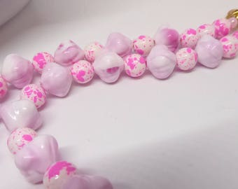 Round White Beads With Splashes of Pink Necklace