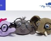 Elephant Eyeglass Holder Crochet Pattern - Bull Elephant, Girl Elephant, Baby Elephant Eyeglass Holder Crochet Patterns