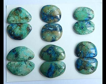SALE,6 Pairs Chrysocolla Gemstone Cabochon,32.7g
