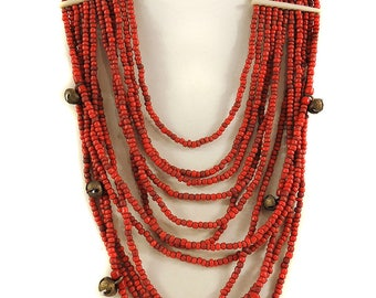 Tibetan Necklace 12 Strand Coral Color 30 Inch 109603