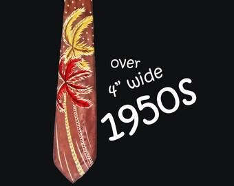 Geek Chic Wide Tie is a Super Wide Necktie, a Satin Printed Tie, 50s Summer Necktie, Wide Satin Necktie, Fun and Funky Retro Palm Trees