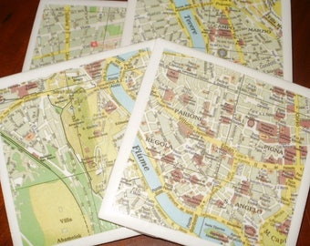 Map Coasters - Rome Road Map Coasters...Set of 4...For Drinks or Candles...Full Cork Bottoms NOT Felt