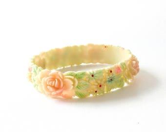 Carved Celluloid Flower Bangle Bracelet Vintage Plastic Jewelry