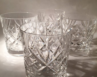 4 Crystal Double Old Fashioned glasses - Gorham Crystal