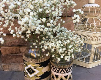 Mason Jar Wrap, Tribal Triangle, Mason Jar Decoration, Baby Shower, Party, Wedding Decoration
