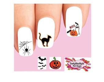 Waterslide Nail Decals Set of 20 - Halloween Ghost, Bats, Pumpkin & Spider Web Assorted #1