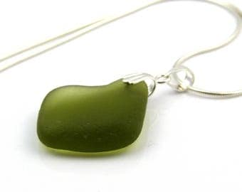 English Sea Glass Necklace Moss, Green Sterling Silver Necklace, Sea Glass Necklace, Sea Glass Jewellery, The Strandline AVA