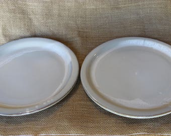 Seconds, Wheel thrown pottery dinner plates, 10.5 inch stoneware plates, set of 2
