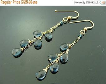 14K Gold Genuine London Blue Topaz Cascade Dangle Earrings