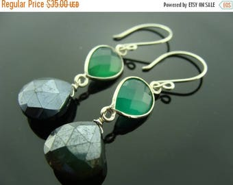 Green Onyx and Dark Green Chalcedony Sterling Silver Earrings