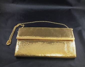 WHITING and DAVIS Gold Mesh Envelope Style Evening Bag