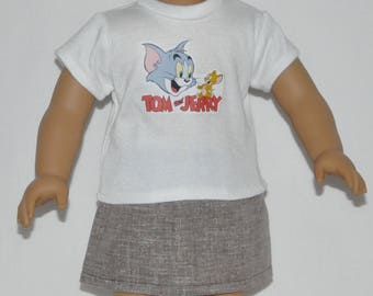 Tom N Jerry Skirt Set Doll Clothes Made To Fit 18 Inch American Girl Dolls
