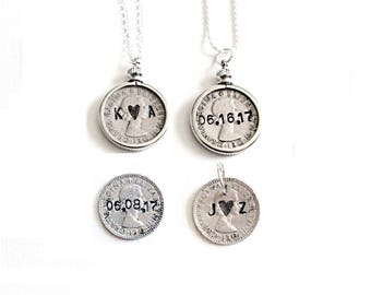 Wedding Sixpence . six pence . personalized sixpence . something old new borrowed blue . love token sixpence . wedding charm . custom coin
