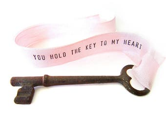 Key to My Heart necklace . personalized key necklace . skeleton key necklace . ribbon necklace . anniversary gift for her