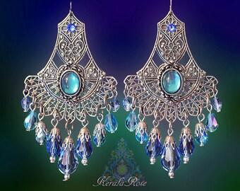 """Aqua & Light Blue Crystal Fan Chandelier Earrings, Bronze or Silver Filigree Peacock Dangle Earrings, 3"""" Long, Renaissance, Clip-On Option"""
