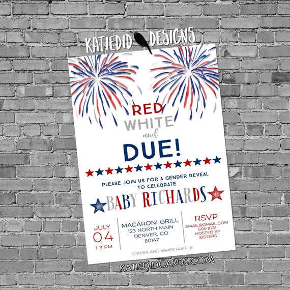 Gender reveal fireworks Patriotic invitations baby shower red white and due 4th of july birthday bunting banner BBQ party 1478c  invitations