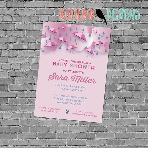 Baby Girl shower invitation umbrella raindrops sprinkle shower couples evite (item 12130P) shabby chic invitations