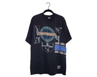 Vintage 1991 World Gymnastics Championship USA Indianapolis 100% Cotton Black Crewneck T-Shirt, Made in USA - XL