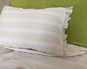 Ivory white Lightweight QUEEN King pillowcases Odemis natural woven crinkle Turkish cotton cozy soft Shabby chic Ruffled bedding