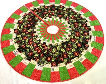 Modern Christmas Tree Skirt  Quilted Handmade Patchwork  Bright Calico Decor   Ready to Ship  Heirloom Wedding Gift  Holiday Red Green Quilt