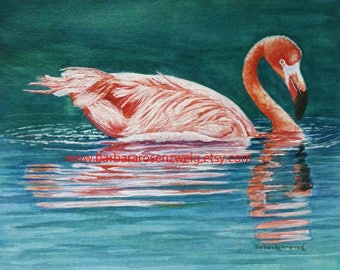 Flamingo Painting, Flamingo Art Print, Flamingo Beach Decor, Coastal Art, Tropical Flamingo Watercolor, Flamingo Wall Art, Bird Wildlife Art