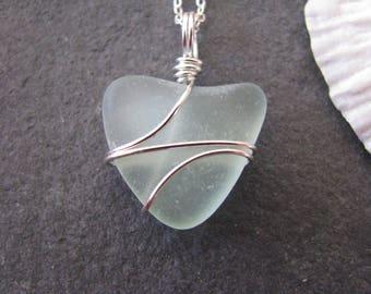 Real Sea Glass Jewelry Heart Shaped Aqua Sea Glass Necklace Heart Beach Glass Mermaid Necklace