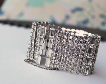 Vintage Wide Rhinestone Bracelet Crystal Bracelet