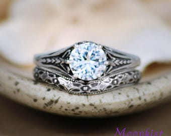 white sapphire wedding ring set sterling silver filigree engagement ring set vintage style bridal - White Sapphire Wedding Ring Sets
