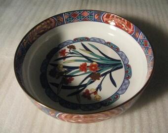 Vintage Large IMARI PATTERNED Japanese Ceramic Bowl w/ Floral Design