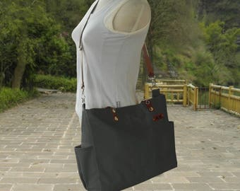 Black canvas messenger bag, tote bag, shoulder bag women, diaper bags, cross body satchel, diaper bag, leather strap bag