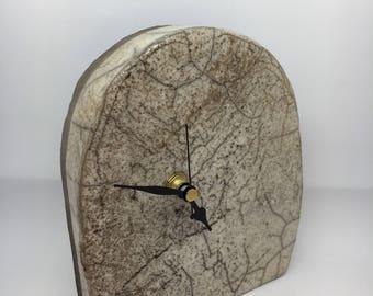 Handbuilt Ceramic Clock with Raku Fired Glaze (Abstract)
