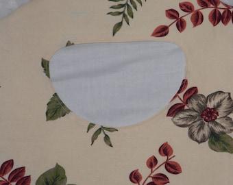 Vintage Cream Tropical Floral Linen Fabric Clothes Pin Holder - Linen Clothes Pin Bag - Ready to Ship