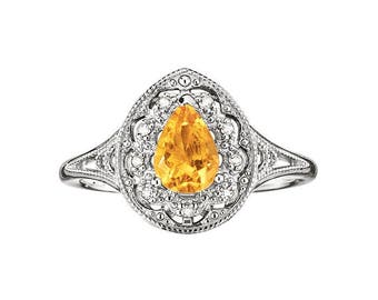 Size 6 Sterling Silver Genuine Citrine November Birthstone Ring