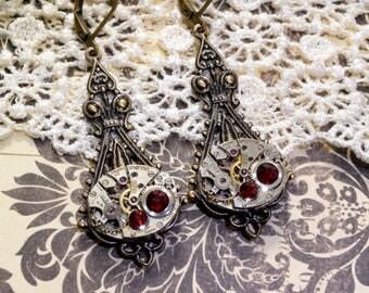 JANUARY Steampunk Earrings Steampunk Jewelry Wedding GARNET RED Earrings Antique Brass Victorian Steampunk Jewelry by Victorian Curiosities