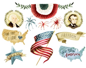 Fourth of July clipart, usa flag, independence day, labor day, Memorial Day