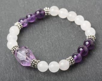 Amethyst bracelet, Amethyst nugget bracelet, Chunky amethyst bracelet, Purple stone bracelet, meditation  yoga bracelet, healing bracelet