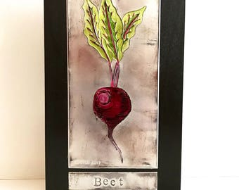 Recycled Metal Beet Soda Pop Can Art