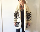 Vintage 60s Mexican Hand Knit Cardigan , Oversize Ethnic Sweater , Marilyn Monroe Cardigan , Cowichan Cardi