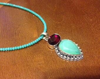 Aqua Chalcedony Pendant Necklace