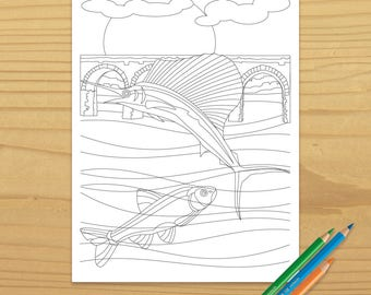 Swordfish Coloring Page, Sailfish Coloring Page, Fish Coloring Page, Bridge Coloring Page, Ocean Coloring Page, Digital Download