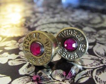 SALE 38 Special bullet stud earrings with pink rhinestones