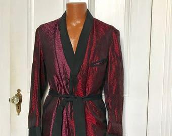 50's Vintage Men's Silk Brocade Two Tone Harlequin Smoking Jacket large