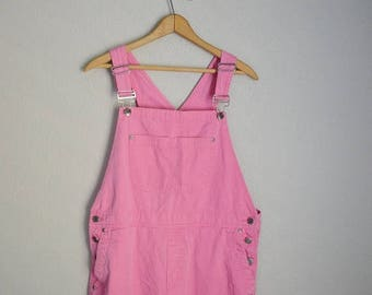 Summer SALE - 20% off - vintage 90s bright pink cropped capri overall pants  bib -- womens large