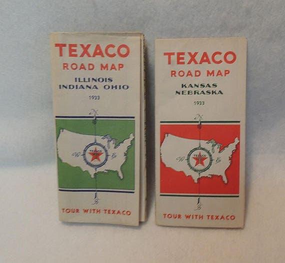 2 Vintage Original 1933 TEXACO  Road Highway Maps.. Kansas Nebraska & Illinois Indiana Ohio