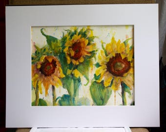 Sunflowers painting - Original Watercolor - large abstract flowers - watercolor flowers - wall art painting - home decor wall art