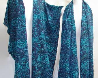 Paisley Turquoise Teal Open Front Shawl ruana shawls and wraps evening shawls ruana wrap scarf shawl fantasy womens clothing paisley hippie