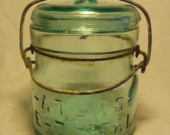c1920s Atlas E-Z Seal , Aqua Half Pint Fruit Jar, 1/2 pint Canning Jar , Great for a Wedding No. 2