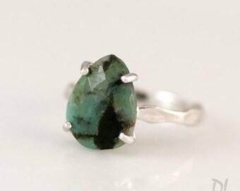 40 OFF - Green Raw Emerald Ring - May Birthstone Ring - Gemstone Ring - Stacking Ring - Silver Ring - Tear Drop Ring - Prong Set Ring
