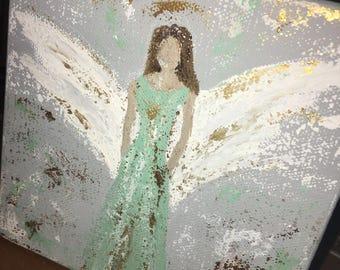 angel painting, original art, acrylic painting