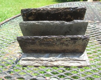 Letter holder with two slots made from 80 year old weather beaten slate. # LH-8